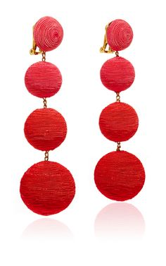 These **Rebecca de Ravenel** Les Bonbons earrings are handcrafted in silk thread for glamorous, gypset accessory for evening. Please note that this is a handcrafted item, and to allow for slight imperfections in the thread. Please also note that Les Bonbons can also be fragile, and it is best to keep them in their box when not wearing.