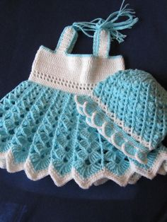 Handmade Baby Girl Crochet Dress and Hat Set