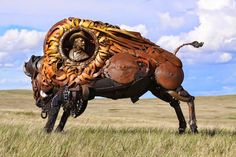 Artist John Lopez uniquely created these life sized scrap metal animal sculptures based in the town of Lemmon, South Dakota. Description from mail2day.blogspot.in. I searched for this on bing.com/images