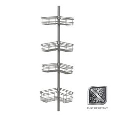 "Glacier Bay ""L"" Style Tension Corner Pole Caddy in Satin Nickel with 4 Shelves for sale online Shower Pole, Bath Or Shower, Hand Held Shower, Deep Shelves, Large Shelves, Corner Shower Caddy, Shelves For Sale, Metal Pole, Shower Shelves"