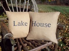 Lake House Burlap Pillow Cover Set 16 x 16 - Other Colors Available - Decorative Pillow Covers - Lake House Decor