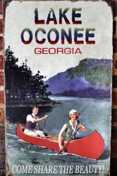 vintage sign for Lake Oconee, Georgia. Read about more Georgia locations here: http://wayinto.com/