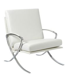 Another great find on #zulily! White Leather Pietro Lounge Chair #zulilyfinds