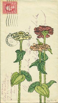 amy rice art/ love this envelope art fav flower. Painting & Drawing, Illustrations, Illustration Art, Envelope Art, Zinnias, Grafik Design, Mail Art, Botanical Art, Graphic