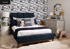 """From a Sweet Nursery to a Shipshape """"Big Boy"""" Room   Rue Home Room Design, Room, Room Design, White Duvet Covers, House Rooms, Blue Bedding, Sweet Nursery, Big Boy Room, Upholstered Beds"""