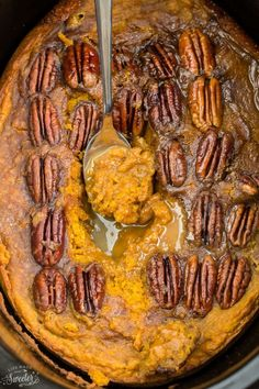 Slow Cooker Pumpkin Pecan Pudding Cake makes the perfect decadent dessert. Best of all, it's so easy to make and cooks entirely in your crock-pot!