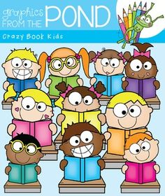 Crazy Book Kids Clipart