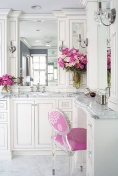 A bouquet of flowers adds a splash of color. I also love the crystals on the light fixtures.