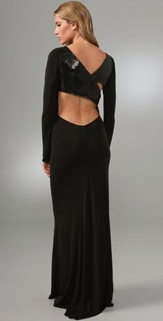 Haute Hippie Black Long Sleeve Gown