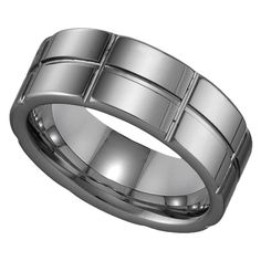 Tungsten Men`s Wedding Band #jewelry www.BlueRainbowDe...