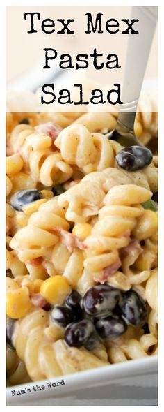 This Tex Mex Pasta Salad is quick to whip together and hearty enough for a main dish, side dish or lunch.  Perfect for a picnic or potluck dish that everyone will love!