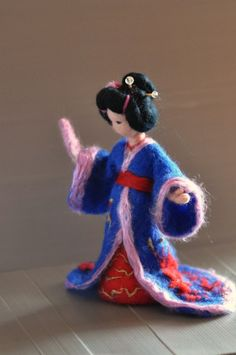 Items similar to Needle Felted Waldorf Doll Geisha. Made to order on Etsy Needle Felted Animals, Felt Animals, Needle Felting Tutorials, Felt Fairy, Felt Dolls, Rag Dolls, Crochet Dolls, Felt Decorations, Thinking Day