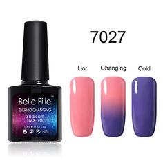 BELLE FILLE Nai Art Soak Off Nail Gel Polish Changing color Temperature Gelpolish Changing Varnish Gel Soak Off Nail Polish #Affiliate
