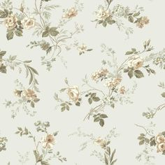 Rose Floral Trail Wallpaper GP7350 green gold tan off-white pearl prepasted #GeorgetownDesigns #Country