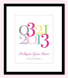 Custom Personalized Baby Name Birth date Print Girl by karimachal, $23.00