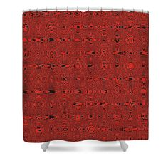 """Red And Black Lines Abstract Shower Curtain by Tom Janca.  This shower curtain is made from 100% polyester fabric and includes 12 holes at the top of the curtain for simple hanging.  The total dimensions of the shower curtain are 71"""" wide x 74"""" tall."""