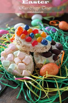 Easter egg shaped Rice Crispy Treats topped with melted white chocolate (or frosting) and a variety of candy...jelly beans, marshmallows, milk chocolates, etc.