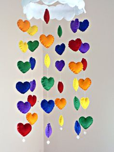 Rainbow hearts cloud mobile - Felt Rainbow heart mobile with crystal beads - kids decor - made to order on Etsy, $168.68 CAD