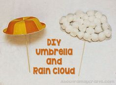 DIY Umbrella and Rain Cloud - Learn how to use some household supplies to make an umbrella and cloud you can make to celebrate spring! (http://aboutfamilycrafts.com/umbrella-and-rain-cloud-crafts/)