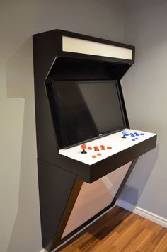 Wall Mounted Arcade Cabinet with vesa mount for up to a 32 TV. Wall Mounted Arcade Cabinet with vesa mount for up to a 32 TV. (TV not included) Light Sintra ( Gaming Furniture, Game Room Furniture, Furniture Decor, Retro Arcade, Mini Arcade, Arcade Cabinet Plans, Gaming Cabinet, Arcade Game Console, Bartop Arcade