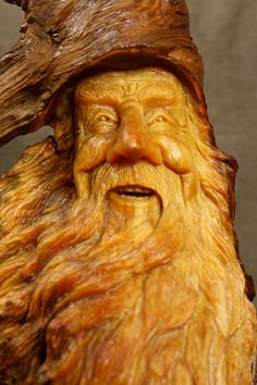 Wood Spirit Carving Gnome Elf Wizard Log by TreeWizWoodCarvings, $185.00