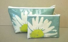 SOLD  Make up bag and purse gift set, green with large daisy pattern, Oilcloth cosmetic bag and coin purse, gift set in oilcloth by KernowClaire on Etsy