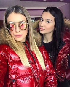 Women's Puffer Coats, Down Puffer Coat, Moncler Jacket Women, Nylons, Red Raincoat, Puffy Jacket, Cool Girl, Jackets For Women, Leather Jacket