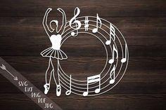 Ballerina SVG PDF, ballet dancer circle monogram, baby papercut, dancing papercutting template jpg dxf Silhouette Cutting Files, cameo vinyl