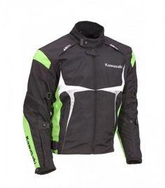 ¡Mantente frío y seguro! La chaqueta sport Kawasaki es todo lo que necesitas para el calor de verano. Con ventilación y protectores CE extraíbles en los hombros y codo