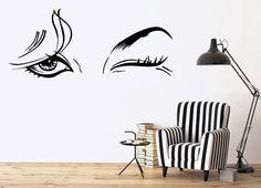 Vinyl Decal Beautiful Woman Beauty Salon Female Eye Makeup Sexy Girl Wall Stickers (ig1416)