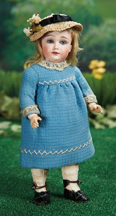 "What Frolicks Are Here: 148 Petite German Bisque Closed Mouth Doll Known as ""A.T. Kestner"""