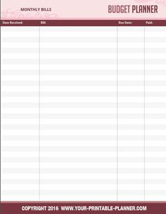 Monthly Budget Spreadsheet - part of the Complete Household Notebook