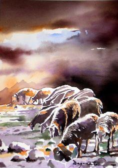 paturages.jpg - Painting,  60x80 cm ©2014 par jean guy DAGNEAU -                                                            Art figuratif, Papier, La vie rurale, sud ouest