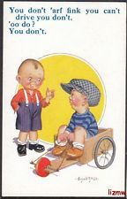 DONALD McGILL YOU DON'T 'ARF FINK YOU CAN'T DRIVE BOY IN GO-CART ART CARD
