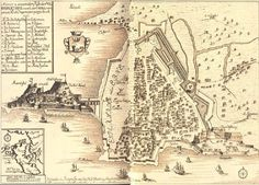 CORFU TOWN AND FORTRESSES OLD MAP!
