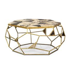 """petrified wood and gold cocktail table 39.75""""l x 34.5""""w x 18.25""""h GISELLE PETRIFIED WOOD COFFEE TABLE by PALECEK"""