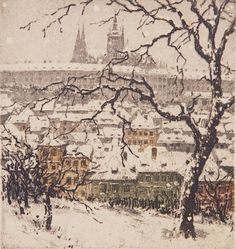 All the known graphics of the Czech artist Tavik Frantisek Simon on one page Winter Painting, Winter Art, Winter Landscape, Landscape Art, Landscape Paintings, Landscapes, Etching Prints, Snow Art, Cityscape Art