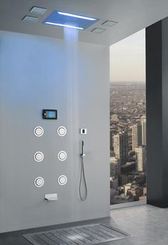 Cool Shower Heads akdy 59 in. 3-jet shower panel system in chrome (grey) with