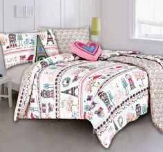 Doona for Apryll - Kooky By Kas Paris Quilt Cover Set Teen Girl Bedding, Toddler Girl Bedding Sets, Kids Bedding Sets, Paris Bedding, Paris Quilt, Double Queen Bed, Queen Bed Quilts, Coverlet Bedding, Duvet