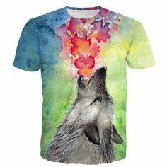 Vintage Oil Painting Tie Dye Art Lovely Wolf Autumn 3D T-shirt #Vintage #Painting #Tie #Art #Lovely #Wolf #Autumn #3D #Tshirt