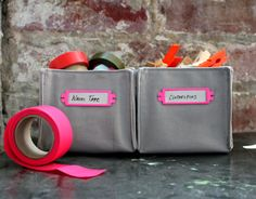 DIY fabric boxes - seems easier than I thought & I like the label holders too | by Brett Bara on D*S