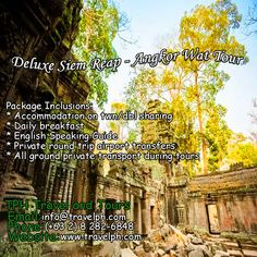 3 DAYS DELUXE SIEM REAP & ANGKOR WAT TOUR (Land Arrangement Only) Minimum of 2 persons  For more inquiries please call: Landline: (+63 2) 8 282-6848 Mobile: (+63) 918-238-9506 or Email us: info@travelph.com #SiemReap #Cambodia #TravelPH #TravelWithNoWorries Siem Reap, Angkor Wat, Cambodia, Transportation, Tours, Day, Travel, Viajes, Destinations