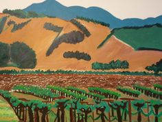 Wine country painting of Northern California vineyards.