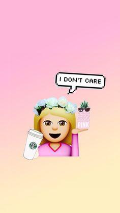 emoji, girl, pink, starbucks, wallpaper