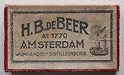 H.B. de Beer,   H B de Beer was een kosjere drankhandel die op het Waterlooplein 15 aan de kant van de Zwanenburgerwal gevestigd was. Het wa...