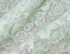 Mint Embroidery Lace Fabric, Sequined Lace Fabric, 51inches Wide for Wedding Dress, Prom Dress, Veil, Costume, Craft Making, 1/2Yard by LaceNTrim on Etsy