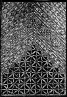 FIG. 104.  LATTICE-GROUND AND DAMASK STITCH FOR SQUARE, FIG. 105.