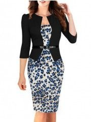Awesome  Leopard Printed Fake Two-piece Bodycon-dress