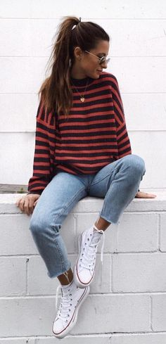 #fall #outfits women's red and black stripe crew-neck sweater, blue cropped jeans