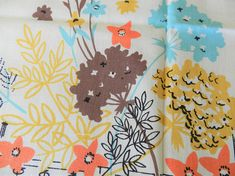 NOS Simtex turquoise, brown, orange and gold never used tablecloth